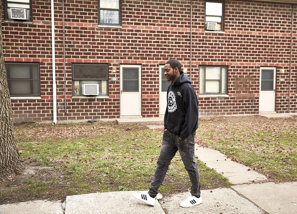 Liddell visiting the projects where he was raised: the Samuel Gompers Homes in East St. Louis. - THEO WELLING