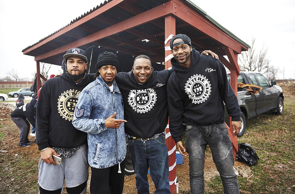 Liddell, far right, with his Future Millionaire crew: NDot, Jermaine Willis and Sanchez Curry. - THEO WELLING