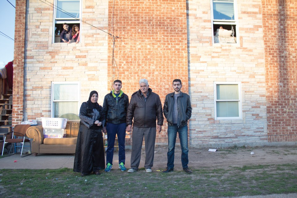 Iman Alkrad, far left, with her sons Abdal and Mohammed and husband Ammar. - SARA BANNOURA