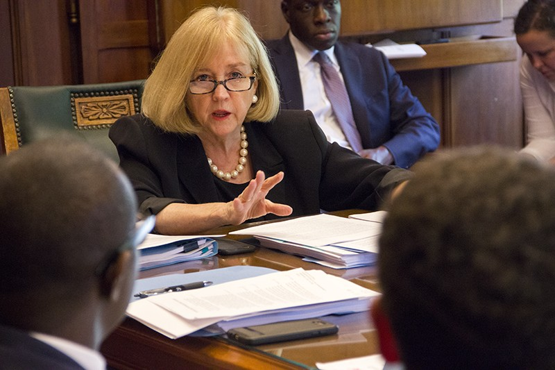 Mayor Lyda Krewson was clearly frustrated by the end of the Estimate and Apportionment meeting. - DANNY WICENTOWSKI