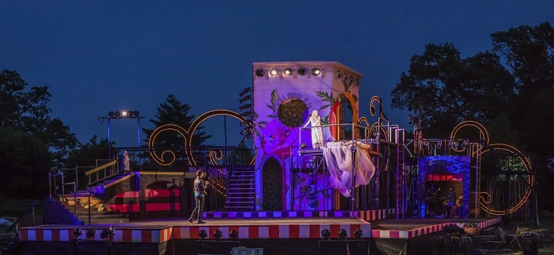 The set and cast for Romeo and Juliet, opening this week in Forest Park. - J. DAVID LEVY