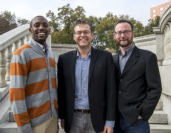 ArchCity Defenders executive director Blake Strode (left) with the firm's co-founders Thomas Harvey and Michael-John Voss. - COURTESY OF ARCHCITY DEFENDERS