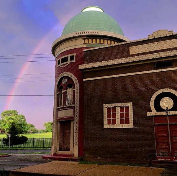 Tom Lampe captured the rainbow peeking out from behind the Virginia Theater in Dutchtown. - COURTESY OF TOMLAMPE_STL