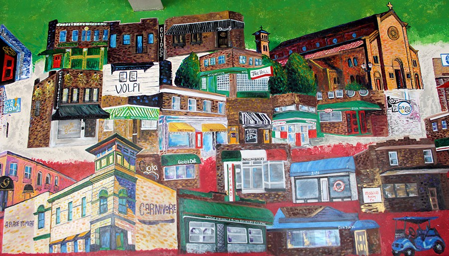 A mural shows off some of the Hill's highlights. - LEXIE MILLER