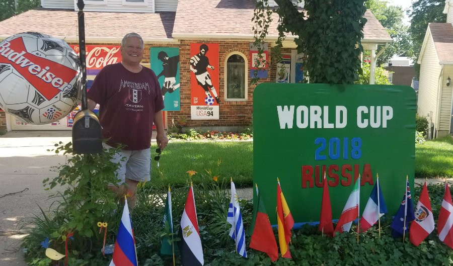 Bob Waeltermann hopes his decorations will inspire new World Cup fans. - CARLOS RESTREPO
