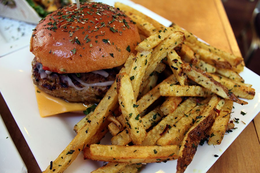 The turkey burger comes with fries and costs $10. - LEXIE MILLER