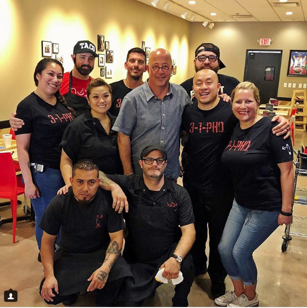 Andrew Zimmern posed with Nudo House staff in one of many restaurant visits in St. Louis this week. - VIA @NUDOHOUSESTL INSTAGRAM