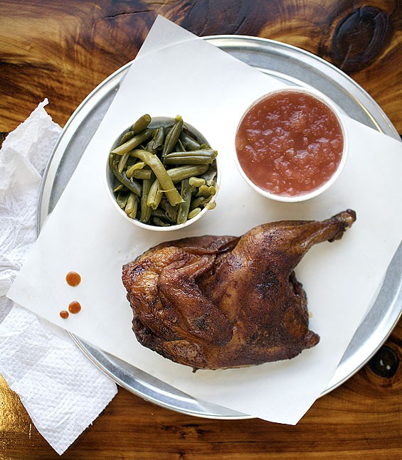 The half chicken at PM BBQ.Click here to see a slideshow of all the smoky goodness at PM BBQ.
