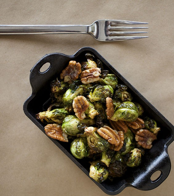 A side of Brussels sprouts with pecans, butter and garlic from last week's dinner menu.