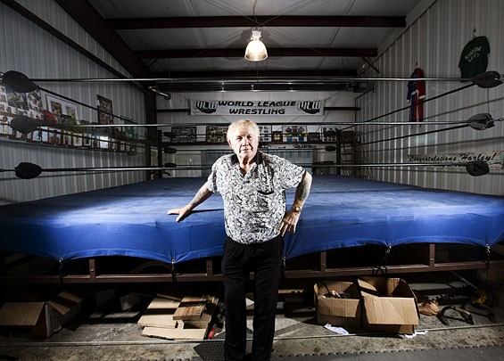 Harley Race at his Lake of the Ozarks-area wrestling academy. Go here for more photos of Harley Race and his students at his Eldon, Missouri, wrestling school.