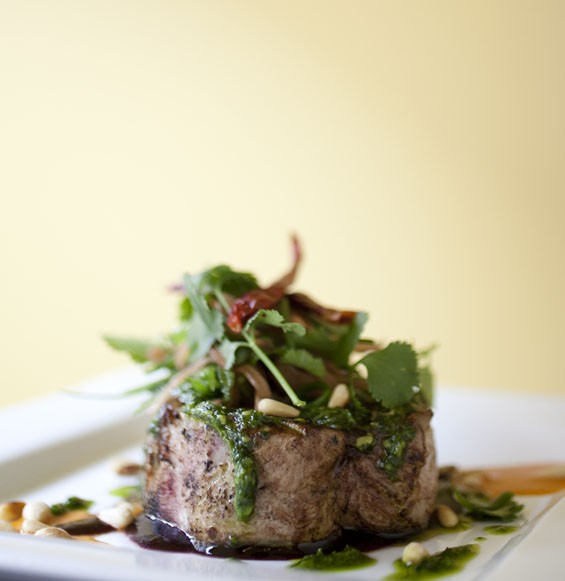 A new entree at Baileys' Range: a center-cut chop of Berkshire pork from Jones Heritage Farms in Cape Girardeau.