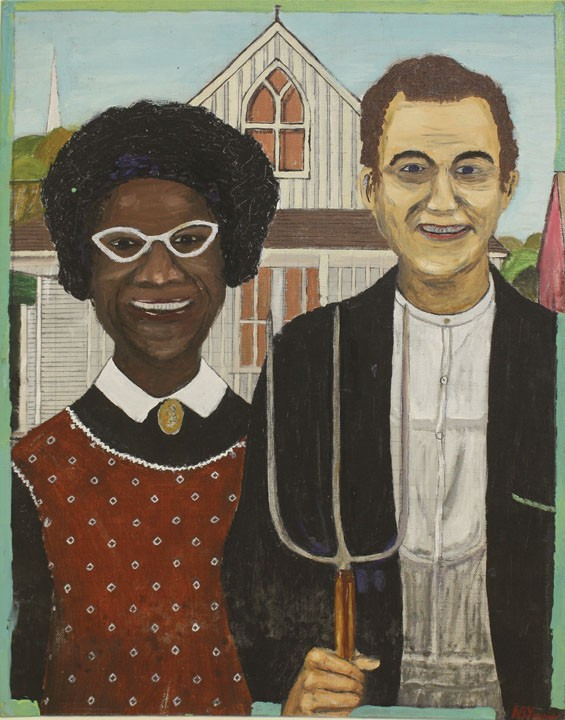 American Gosherie by Nathan B. Young Jr. re-imagines Grant Wood's American Gothic.