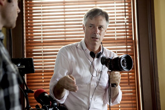 Director Whit Stillman on set of Damsels in Distress.