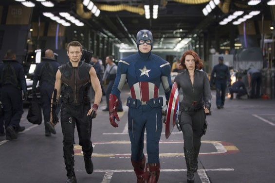 Hawkeye (Jeremy Renner), Captain America (Chris Evans) and Black Widow (Scarlett Johansson)