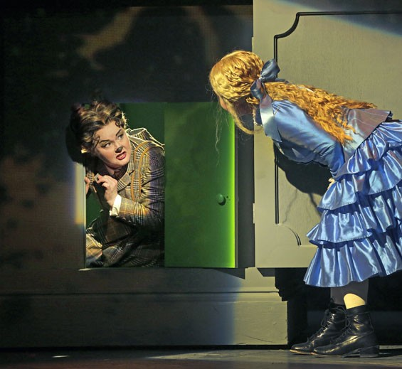 Tracy Dahl as the Cheshire Cat and Ashley Emerson as Alice in Opera Theatre of Saint Louis's 2012 production of Alice in Wonderland.
