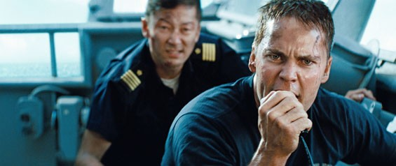 "Tadanobu Asano and Taylor Kitsch  man the deck in ""Battleship"", an epic-scale action-adventure that unfolds across the seas, in the skies and over land as our planet fights for survival against a superior force."
