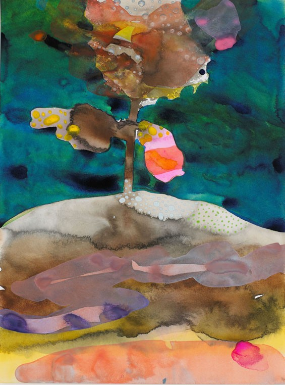Eva Lundsager, Ascendosphere 3, 2008, watercolor and Sumi ink on paper, 12 by 9 inches, collection of Sally and John Van Doren.