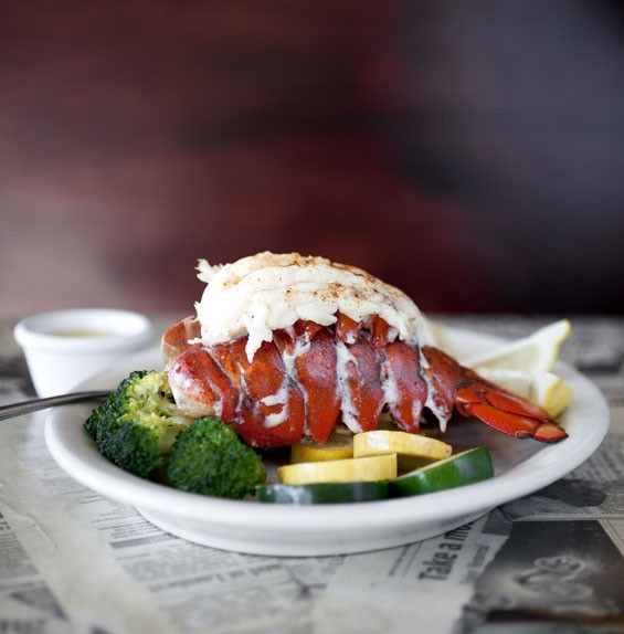 The lobster tail signature entrée is simply steamed and served in drawn butter, and can be ordered with a second tail.