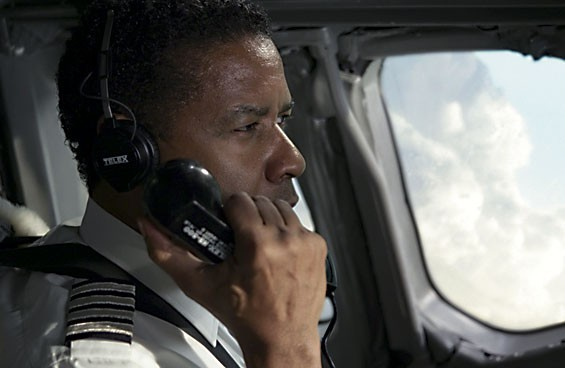 Booze is his copilot: Denzel Washington stars as a pilot in crisis in Flight.