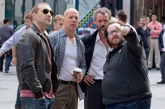 Jai Courtney, Bruce Willis, Sebastian Koch and John Moore on the set of A Good Day to Die Hard