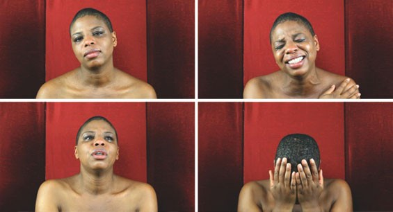 Stills from Zina Saro-Wiwa's Sarogua Mourning, 2011, at the Pulitzer.