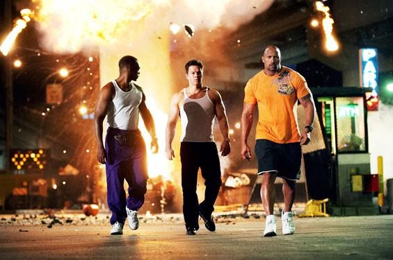 Gym dandies: Mark Wahlberg, Dwayne Johnson and Anthony Mackie.