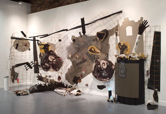 Aleppo to Damascus, 2013, mixed media installation, 10 x 22 x 6 feet (size variable).