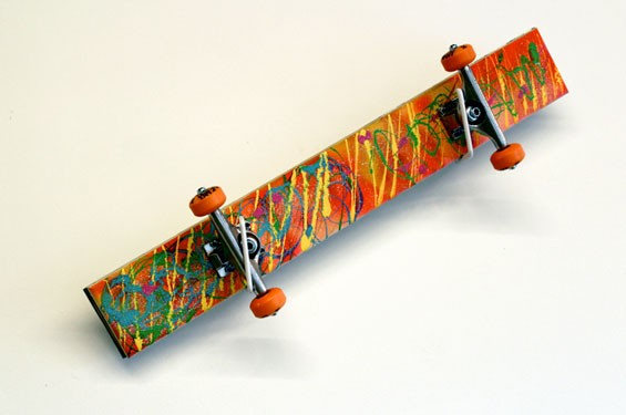 "Michael Senise and Cody Frei, Marty Mc'Fly Shit, skateboard hardware, acrylic, wood, chrome, 8"" x 31"" x 4"", 2013."