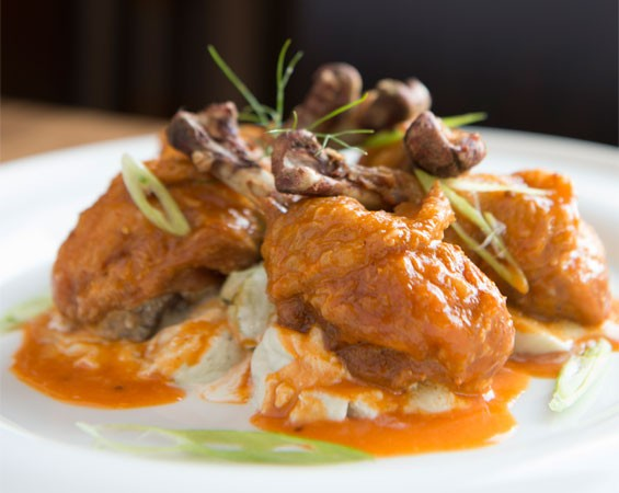 Chicken lollipops with blue-cheese mousse. Slideshow: Inside Alumni St. Louis Downtown.