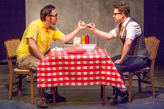 "Aaron Orion Baker and Tom Lehman in Tyler Nickers' black comedy ""Pinky Swear."""