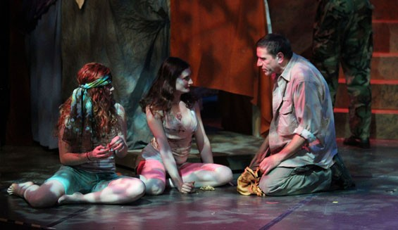 Betsy Bowman, Alyssa Ward and Michael Brightman in Timon of Athens.