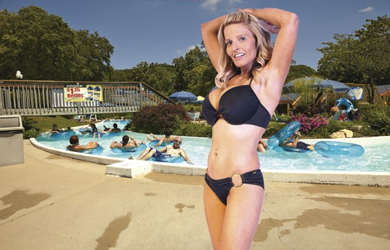 """Shore thang: Would this siren in a two-piece wreck your day at Raging Rivers? The Grafton water park reserves the right to eject customers dressed in """"provocative"""" bathing suits."""