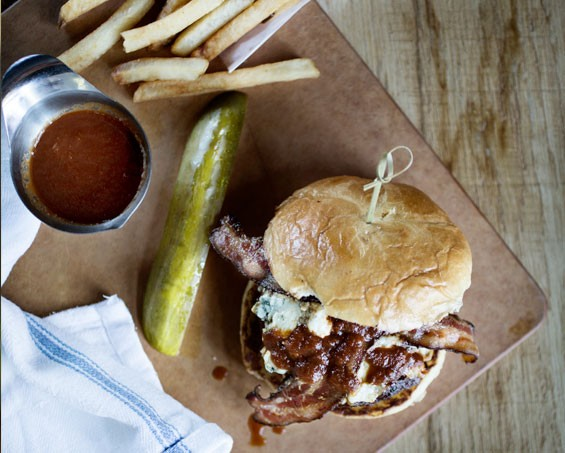 "The ""BBBB"" is a bison and bacon barbecue burger with blue cheese on a brioche bun. Slideshow: Inside Mike Shannon's Grill in Edwardsville."