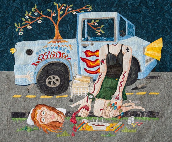 Kathy Nida's SpreadOutOnthePavement makes a bold statement at the Quilt National 2013, opening at the Saint Louis University Museum of Art on Friday, September 20.