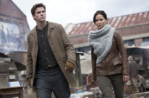 Still hungry: Liam Hemsworth and Jennifer Lawrence in The Hunger Games: Catching Fire.