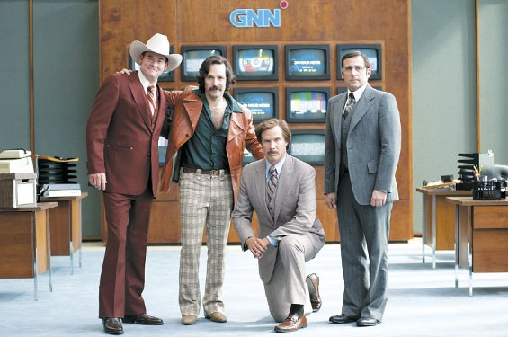 Camera ready: David Koechner, Paul Rudd, Will Ferrell and Steve Carell in Anchorman 2: The Legend Continues.