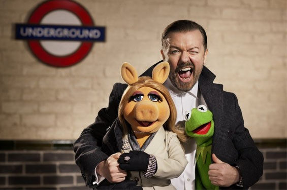 Ricky Gervais in Muppets Most Wanted.