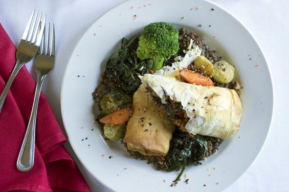 "The ""Vegetarian Winter Roulade,"" made with roasted vegetables and wild-rice phyllo roulade and lentil Dijonnaise. See photos: Nathalie's Serves Farm Fresh Food in the Central West End"