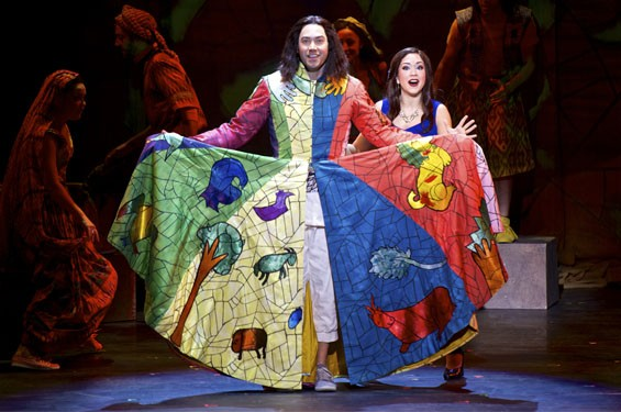 "Ace Young as Joseph and Diana DeGarmo as Narrator during the number ""Jacob and Sons."""