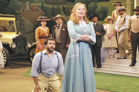 René Barbera as Nemorino, Susannah Biller as Adina, and the Opera Theatre chorus.