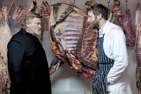 Brendan Gleeson as Father James and Chris O'Dowd as The butcher in Calvary.