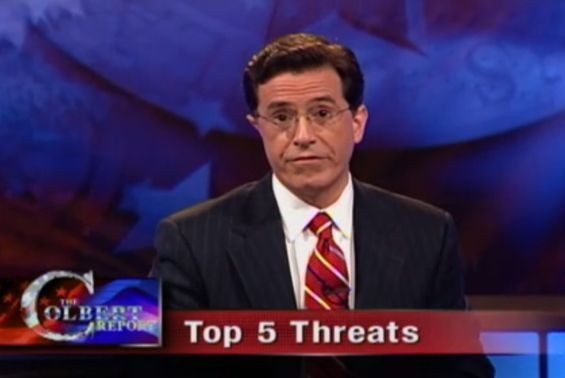 Colbert in the opening of the very first Colbert Report.