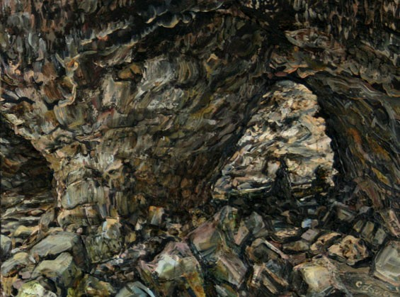Cindy Tower, Indian Cave (diptych), 2010. Oil on canvas, 18 by 48 inches. - COURTESY OF BRUNO DAVID PROJECTS
