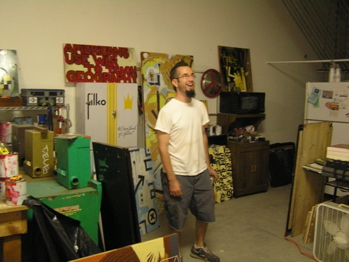 Bryan Walsh in his new studio space on Cherokee
