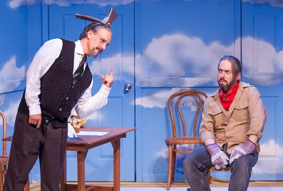 Trotsky (Sheley) wonders about that pesky climbing axe to his murderous gardner, Ramon (Ritchie), in Variations On The Death of Trotsky. - PHOTO: JOHN LAMB