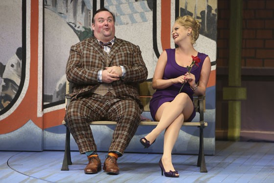 Raymond McAnally and Ruth Pferdehirt in the Rep's rollicking One Man, Two Guvnors. - JERRY NAUNHEIM JR.