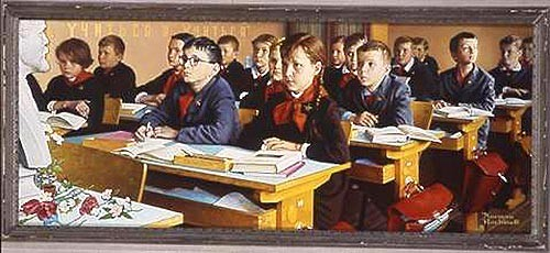 Rockwell's Russian Schoolroom disappeared during a 1973 gallery heist in St. Louis.