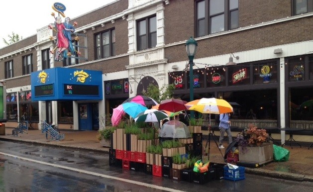 Park(ing) Day finds a toehold on the Delmar Loop. - PHOTOS: CHAD GARRISON
