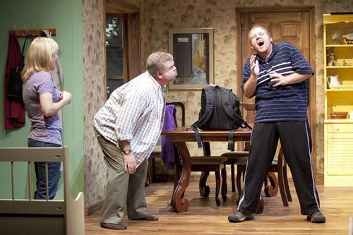 Michelle Hand, Greg Johnston and Jonathan Foster in Mustard Seed Theatre's Falling. - JOHN LAMB