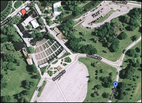 Red dot is front of the Muny, blue dot is ditch near where woman was found - GOOGLE